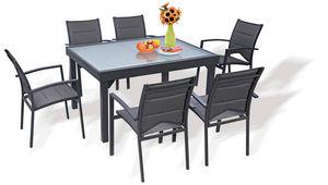 WILSA GARDEN - salon de jardin modulo gris 6 personnes en alumini - Salle À Manger De Jardin