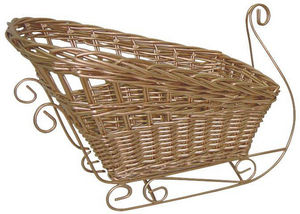 Aubry-Gaspard - corbeille traineau de noël en osier laqué doré - Corbeille De Rangement