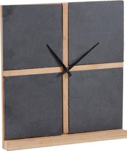 Aubry-Gaspard - horloge 4 cadre en ardoise et bambou 25x26,5x3cm - Horloge Murale