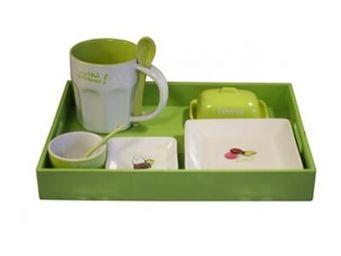 Cm - plateau petit déjeuner - couleur - vert - Service Petit Déjeuner