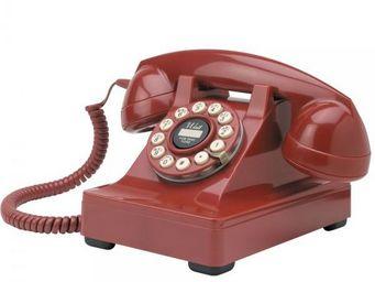 WHITE LABEL - téléphone série 302 rouge - Téléphone Décoratif