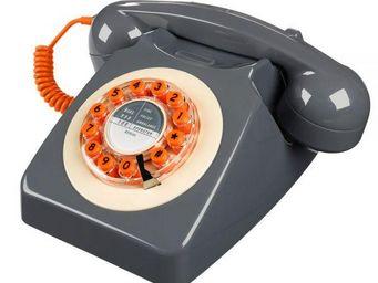 WHITE LABEL - téléphone 746 gris béton - Téléphone Décoratif