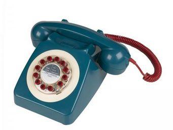 WHITE LABEL - téléphone 746 bleu - Téléphone Décoratif