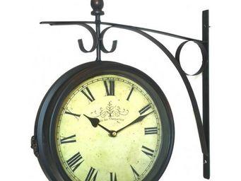 L'HERITIER DU TEMPS - horloge double face style brocante 28cm - Horloge Murale