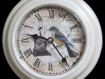 L'HERITIER DU TEMPS - horloge murale patin� blanc �21cm - Horloge Murale