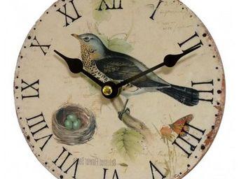 L'HERITIER DU TEMPS - pendule mini oiseau bleu ø16.5cm - Horloge Murale