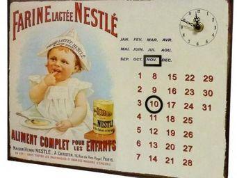 L'HERITIER DU TEMPS - calendrier-pendule plaque pub nestlé - Horloge Murale