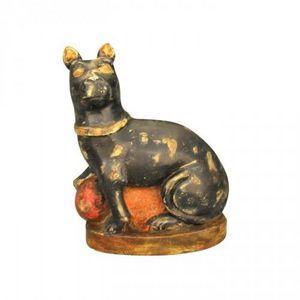 Demeure et Jardin - chat noir en bois - Sculpture Animalière