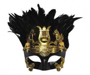 Demeure et Jardin - masque vénetien centurion romain noir et or - Masque