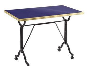 Ardamez - table de repas émaillée bleu / laiton / fonte - Table De Repas Rectangulaire