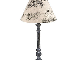 Interior's - lampe patin�e grise toile de jouy - Lampe � Poser