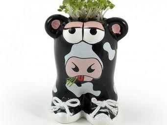 Radis Et Capucine - céramique vache avec cheveux en gazon - Potager D'intérieur