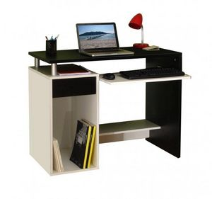 WHITE LABEL - geek bureau informatique triple plateaux noir & bl - Bureau