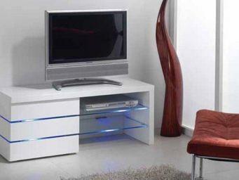 WHITE LABEL - meuble tv leon, blanc brillant et lumière led - Meuble Tv Hi Fi