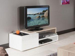 WHITE LABEL - pacific meuble tv couleur blanc laqué brillant et  - Meuble Tv Hi Fi