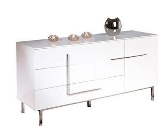 WHITE LABEL - buffet bas design deltino blanc 2 portes et 3 tiro - Buffet Bas