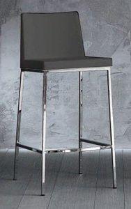 WHITE LABEL - tabouret de bar erik en cuir éco gris titane, piét - Chaise Haute De Bar