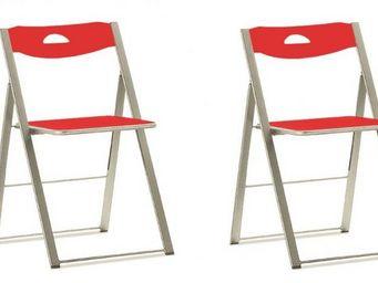 Domitalia - lots de 2 chaises pliantes icon rouges - Chaise Pliante