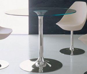 WHITE LABEL - table repas armony en verre et acier chromé, 120 x - Table De Repas Ronde