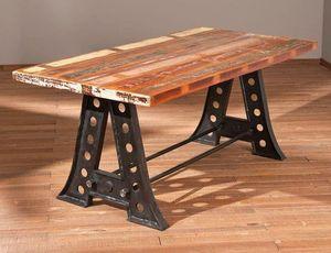 WHITE LABEL - table repas unique amar en bois de manguier recycl - Table De Repas Rectangulaire