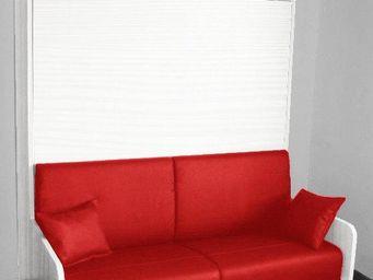 WHITE LABEL - armoire lit escamotable space sofa chêne blanc, ca - Lit Escamotable