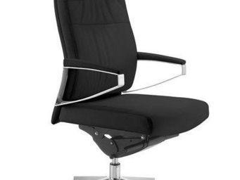 WHITE LABEL - fauteuil de bureau réglable opus en cuir noir - Fauteuil De Bureau
