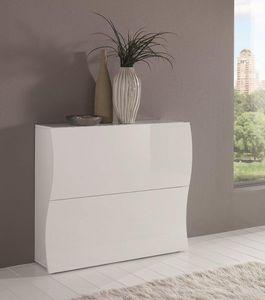 WHITE LABEL - meuble à chaussures onda 2 portes blanc brillant. - Meuble À Chaussures