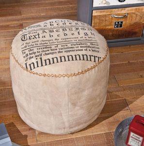 WHITE LABEL - pouf letterhand en coton beige - Pouf