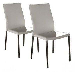 WHITE LABEL - lot de 2 chaises design hellen en simili cuir blan - Chaise