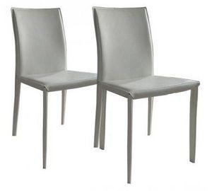 WHITE LABEL - lot de 2 chaises design cathy en simili cuir blanc - Chaise