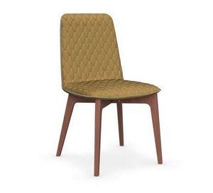 Calligaris - chaise sami en hêtre et tissu jaune moutarde de ca - Chaise