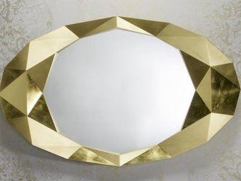 WHITE LABEL - saphir miroir mural design en verre couleur or - Miroir
