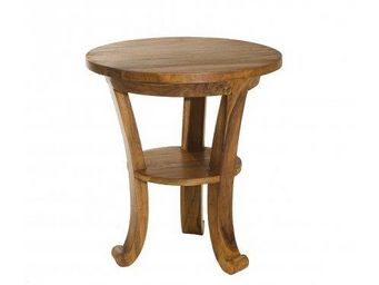 WHITE LABEL - table basse style colonial en teck massif 50cm - Table D'appoint