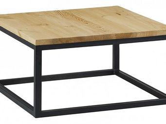 Couleurs Des Alpes - table basse m�tal et bois city - Table Basse Carr�e