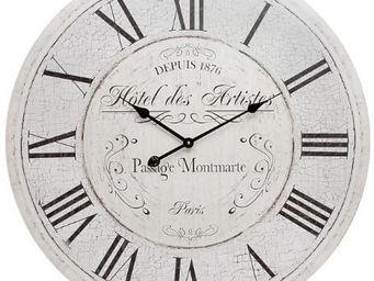 Antic Line Creations - pendule en bois h�tel des artistes - Horloge Murale