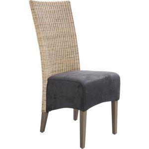 Aubry-Gaspard - chaise rotin et teck teint� gris - Chaise