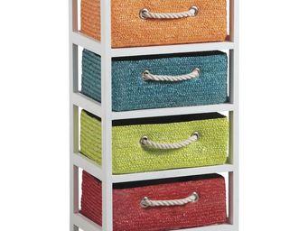 Aubry-Gaspard - commode 4 tiroirs couleurs - Colonne De Rangement