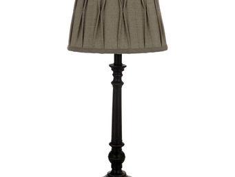 Interior's - lampe noire abat-jour gris clair obscur - Lampe � Poser