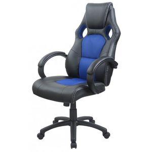 WHITE LABEL - fauteuil de bureau sport cuir bleu - Fauteuil De Bureau