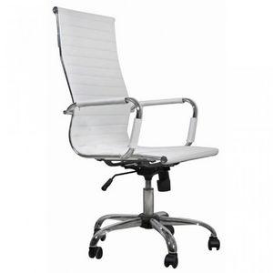 WHITE LABEL - fauteuil de bureau noir et chromé - Fauteuil De Bureau