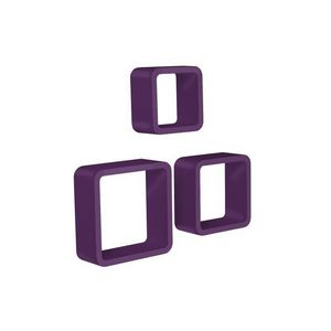WHITE LABEL - étagère murale x3 cube design violet - Etagère