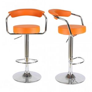 WHITE LABEL - lot de 2 tabourets de bar en cuir pu orange - Chaise Haute De Bar