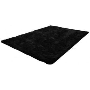WHITE LABEL - tapis salon noir poil long taille m - Tapis Contemporain