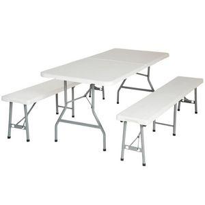 WHITE LABEL - ensemble table + 2 bancs pliant salon jardin camping pique-nique - Table Pique Nique