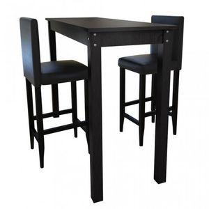 WHITE LABEL - lot de 2 tabourets de bar avec table haute - Tabouret De Bar