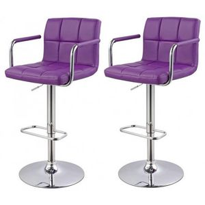 WHITE LABEL - lot de 2 tabourets de bar violet - Chaise Haute De Bar