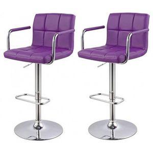 WHITE LABEL - lot de 2 tabourets de bar violet - Chaise Haute De Bar