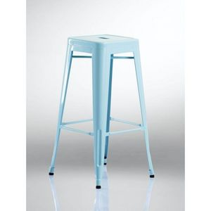 WHITE LABEL - lot de 2 tabourets de bar factory bleu - Tabouret De Bar