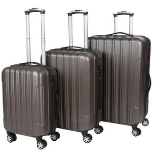 WHITE LABEL - lot de 3 valises bagage rigide marron - Valise À Roulettes