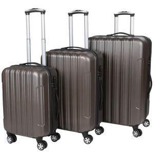 WHITE LABEL - lot de 3 valises bagage rigide marron - Valise À Roulettes